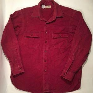 Vintage LL Bean Chamois Cloth Shirt Burgundy Red